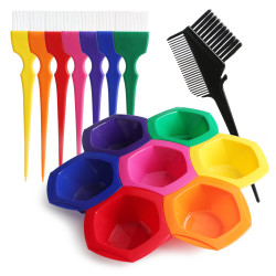 Segbeauty Rainbow Hair Color Mixing Bowls Brushes Comb Highlighting Tint Kit for Hair Dyeing Styling Accessories