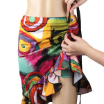 Latin Salsa Belly Dance Dress with Asymmetrical Ruffle --  Graffiti Style