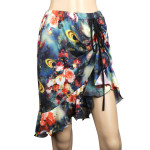 Latin Salsa Belly Dance Dress with Asymmetrical Ruffle --  Floral Style