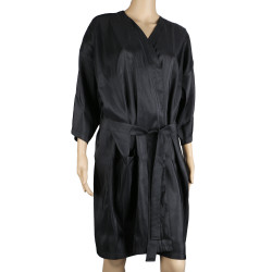 Segbeauty Salon Kimono Client Lounging Robe Smock Dress Spa Massage Client Gown for Beauty Parlor_Black