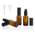 Segbeauty Amber Glass Spray Bottle, 3pcs Fine Mist Travel Bottle Set 30mL Pump Sprayer For Essential Oil Perfume