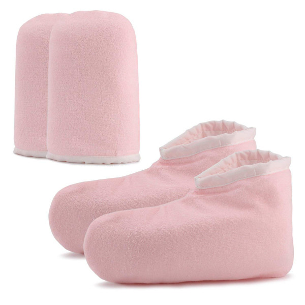 Paraffin Wax Bath Terry Cloth Gloves Booties, Pink Spa Treatment Tanning Mitt
