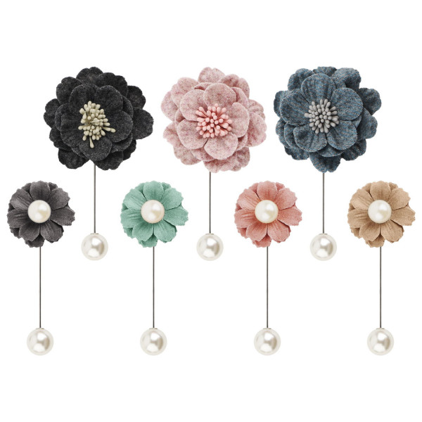 Segbeauty 7pcs Flower Pearl Brooch Pins Women Boutonniere Lapel Hat Pin for Corsages