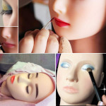 Makeup Doll Head for Cosmetology, With Mannequin Head,Mannequin Holder, 10 pairs of Eyelashes, Tweezer and Tape for Eyelash Extension
