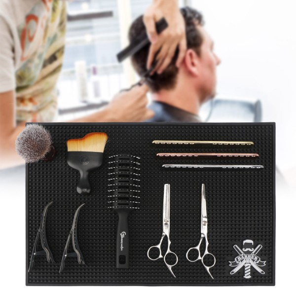 Segbeauty Black Barber Mats for Stations 11.8 x17.5 inches PVC Hair Styling Anti-slip Flexible Rubber Mat