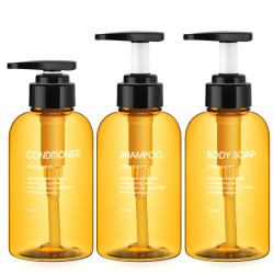 Segbeauty 3pcs 300ML Soap Dispenser Bottle Shampoo Press Type Lotion Body Soap Empty Container_Brown