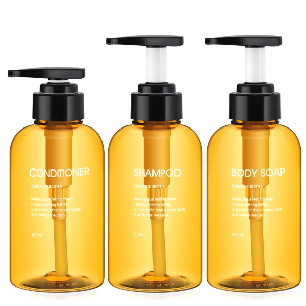 Segbeauty 3pcs 300ML Soap Dispenser Bottle Shampoo Press Type Lotion Body Soap Empty Container