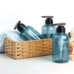 Segbeauty 3pcs Bathroom Dispenser Bottles 300ml Refillable Pump Bottles Liquid Body Soap Shampoo Conditioner_Blue