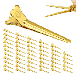 50pcs Sectioning Hair Clips, Segbeauty Metal Alligator Clips Hairdresser Accessories Golden Beak Clips Duck Bill Hair Gripes for Hair Cutting, Coloring, Drying, Curling