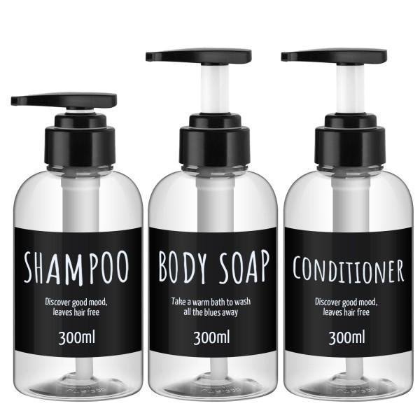 Segbeauty 3pcs/set 300ML Soap Dispenser Bottle Bathroom Shampoo Bottle Pump Press Type Lotion Container