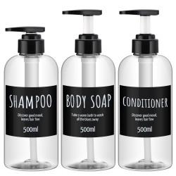 Segbeauty 3pcs/set 500ML Refillable Shampoo Dispenser Plastic Pump Shower Bottle Refillable Shampoo Conditioner