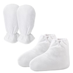 Segbeauty  Paraffin Wax Mitts and Booties Terry Cloth Mittens Paraffin Warmers SPA Heated Therapy_White