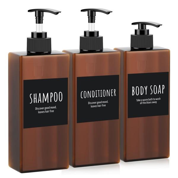 Segbeauty 3pcs 400ml Refillable Pump Bottle Dispenser Shampoo Empty Pump Conditioner for Body Soap Shower