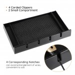 Segbeauty Salon Barber Clipper Tray Black Clippers Organizer Case with 5 Notches Accesories Anti-slip Hairdresser Tools Box