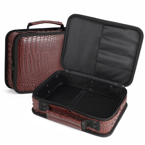 Segbeauty Barber Leather Case Hairdresser Carrying Tool Bag Portable Organizer for Clippers Shears Supplies