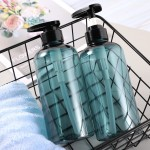 Segbeauty 3pcs 500ml Shampoo Bottle Shower Gel Body Wash Hair Conditioner Dispenser Soap Press Cosmetic Bathroom Storage
