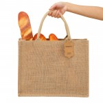 Seganty Shopping bag, Burlap Bags with Laminated Interior and Soft Handles