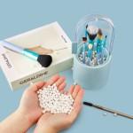 Segbeauty Makeup Brush Organizer with Pearls Plastic Dustproof Cosmetic Eyeliner Eyeshadow Brush Blue Storage Box