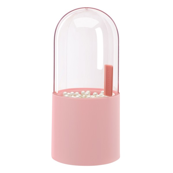 """Segbeauty Makeup Brush Holder with Lid 8.9"""" Plastic Pink Dustproof Cosmetic Eyeliner Eyeshadow Brush Container with Pearls"""