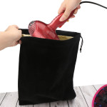 Hair Dryer Bag Storage Bag Stain Liner Drawstring Velvet Pouch 11.8x15.7inch Black Gym Bag Garment Organizer for Diffuser, Straighteners, Clothes